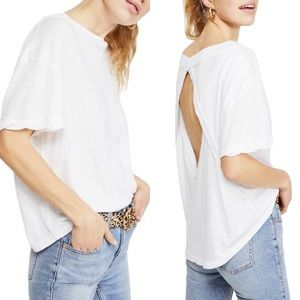 Free People || NEW Viola Open Back Tee White XS